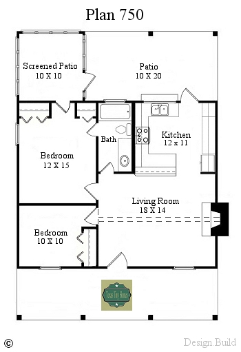 Texas tiny homes plan 750 for 750 sq ft floor plan