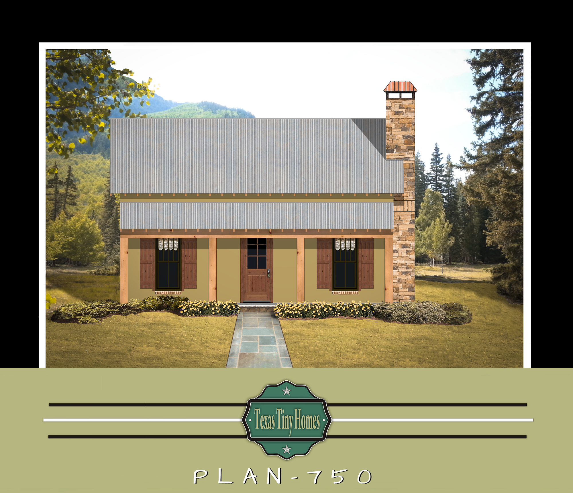 Texas tiny homes plan 750 for Texas home builders floor plans