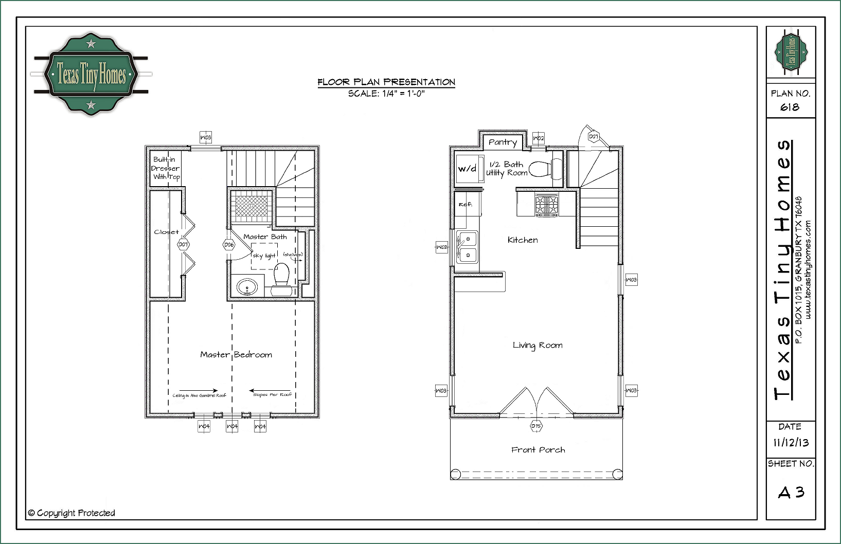 Texas tiny homes plan 618 Small house blueprint