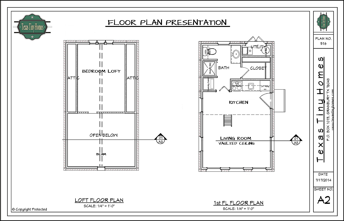 Texas tiny homes plan 516 for Small house design with floor plan