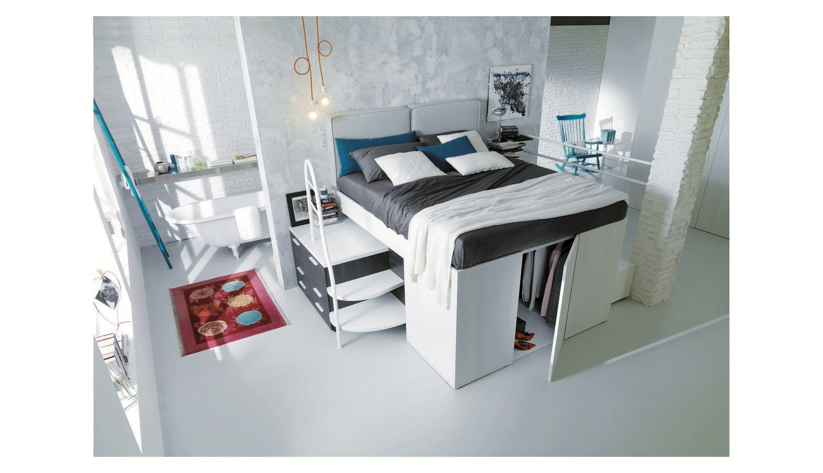 Bed with mini closet underneath - Arredamento salvaspazio mobili multifunzionali ...