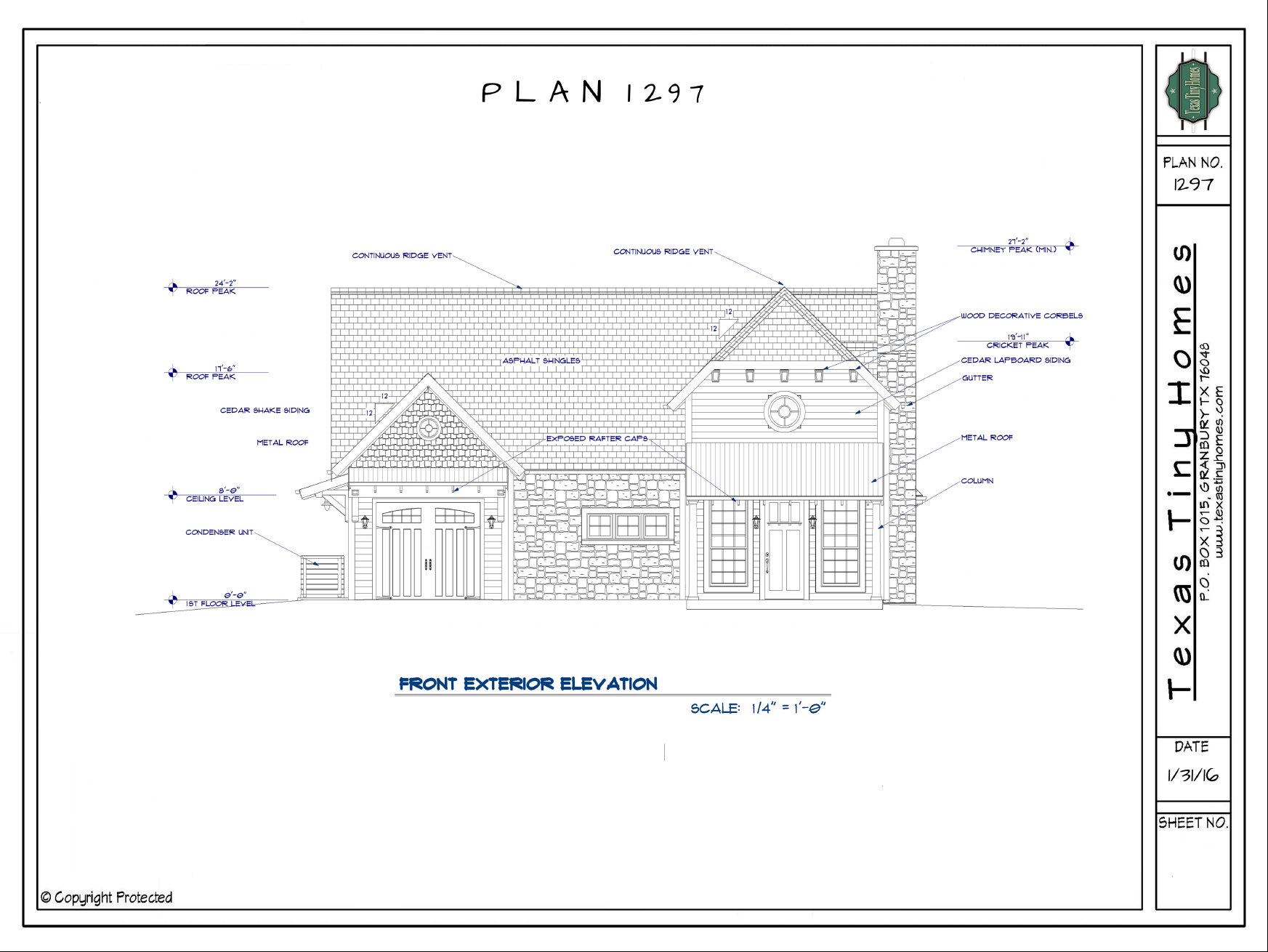 Front Elevation Sheets : Texas tiny homes plan