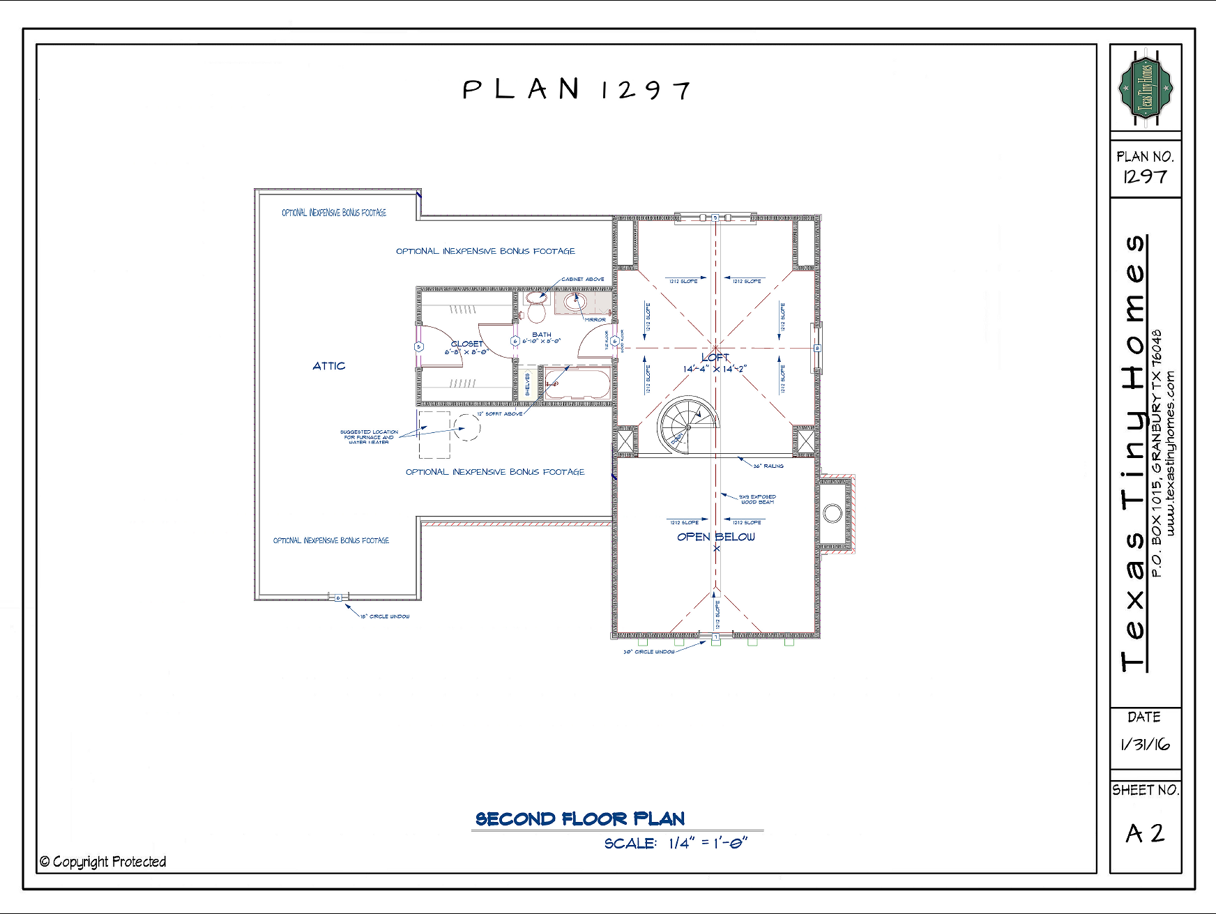 Texas tiny homes plan 1297 for Texas home builders floor plans