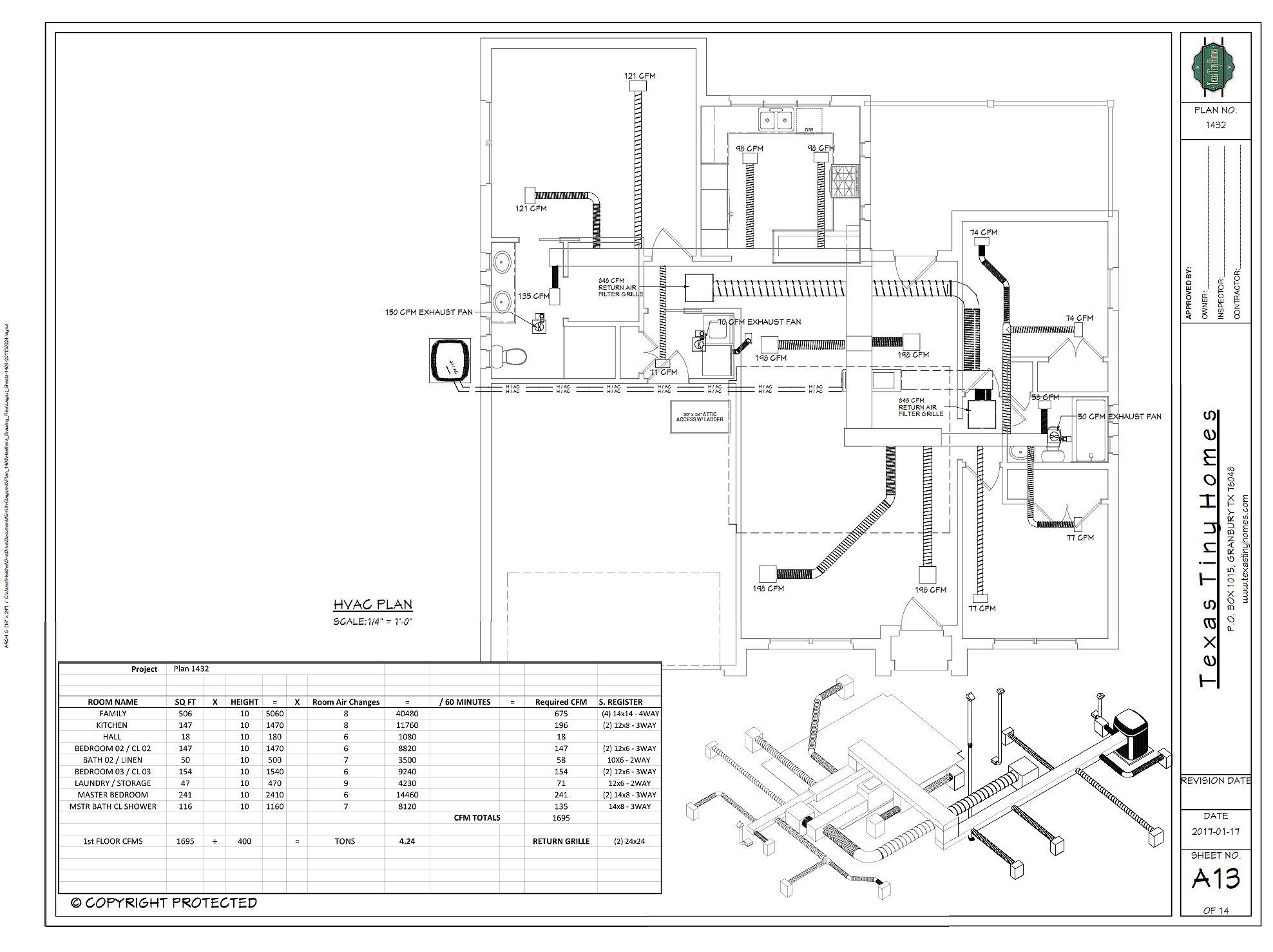 Texas tiny homes plan 1432 for Hvac plan