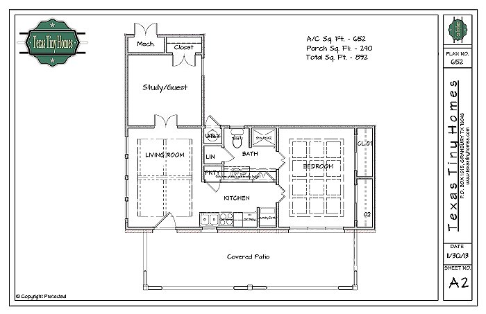 Plan 652 for Foundation tiny house builders