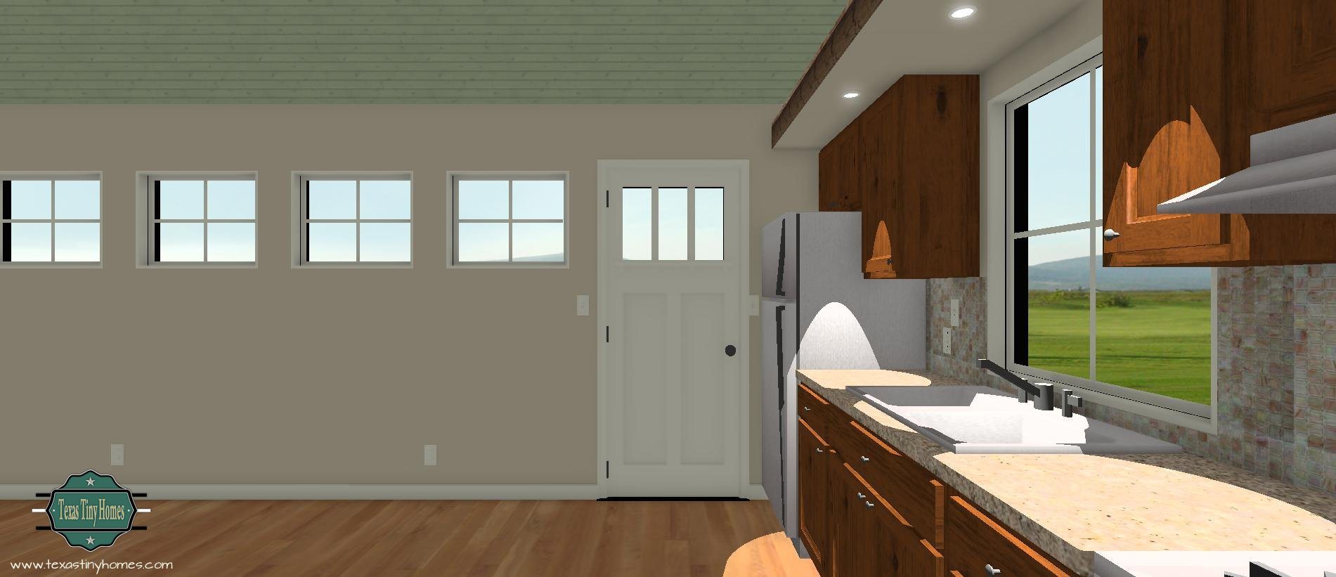 Kitchen Side View : Our first tiny home that can be shipped to you sneak peek